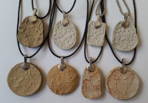 Ceramic Pendant Necklace - Back Side with Bail