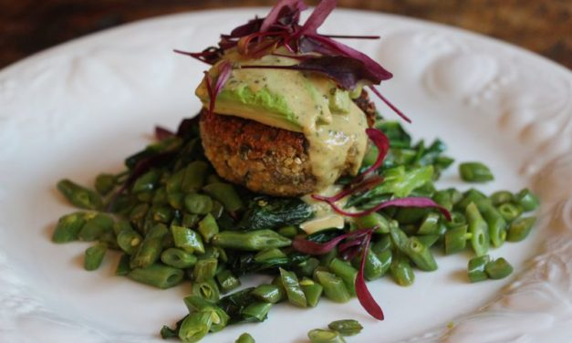 Sunflower Seed & Millet Cakes with Spicy Tahini Sauce