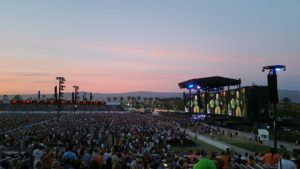 "Desert Trip ""Oldchella"" - Beautiful sunset as concert begins"