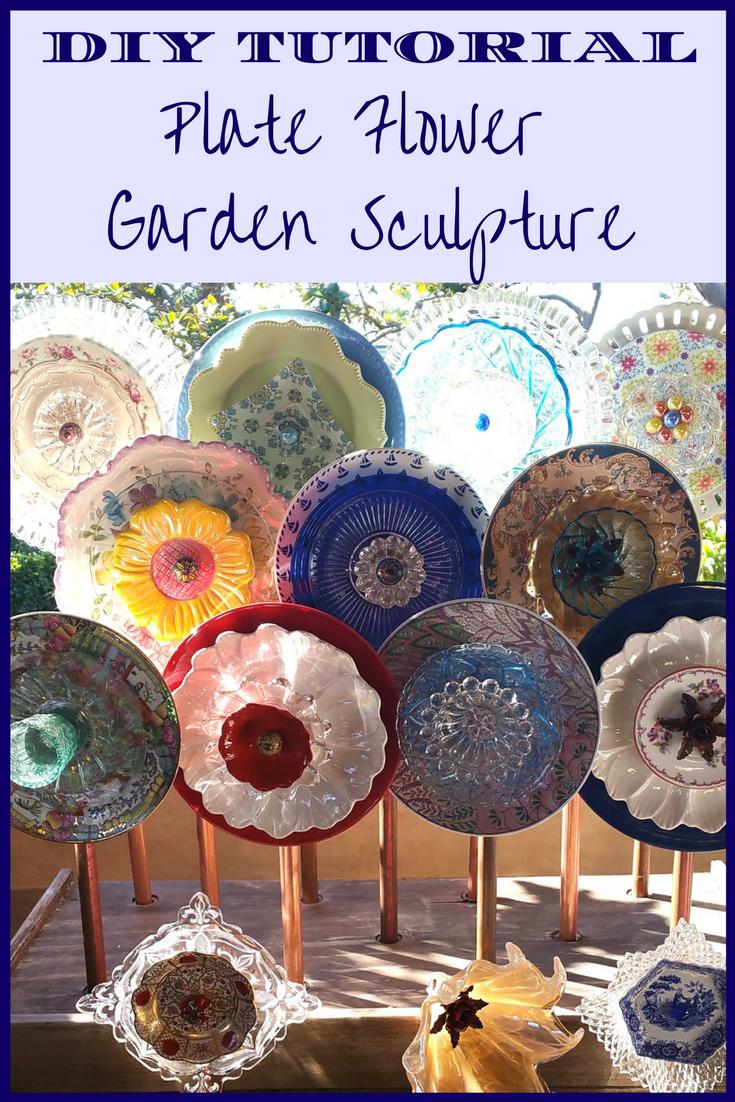 diy tutorial  u2013 flower plate garden sculptures